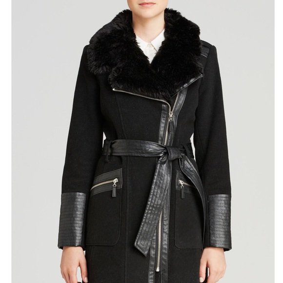 Via Spiga Jackets & Blazers - Via Spiga Belted Faux Fir-Trim Asymmetric Coat